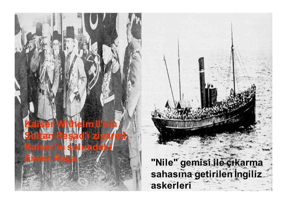 Kaiser Wilhelm II'nin Sultan Reşad'ı ziyareti. Kaiser'in solundaki Enver Paşa.