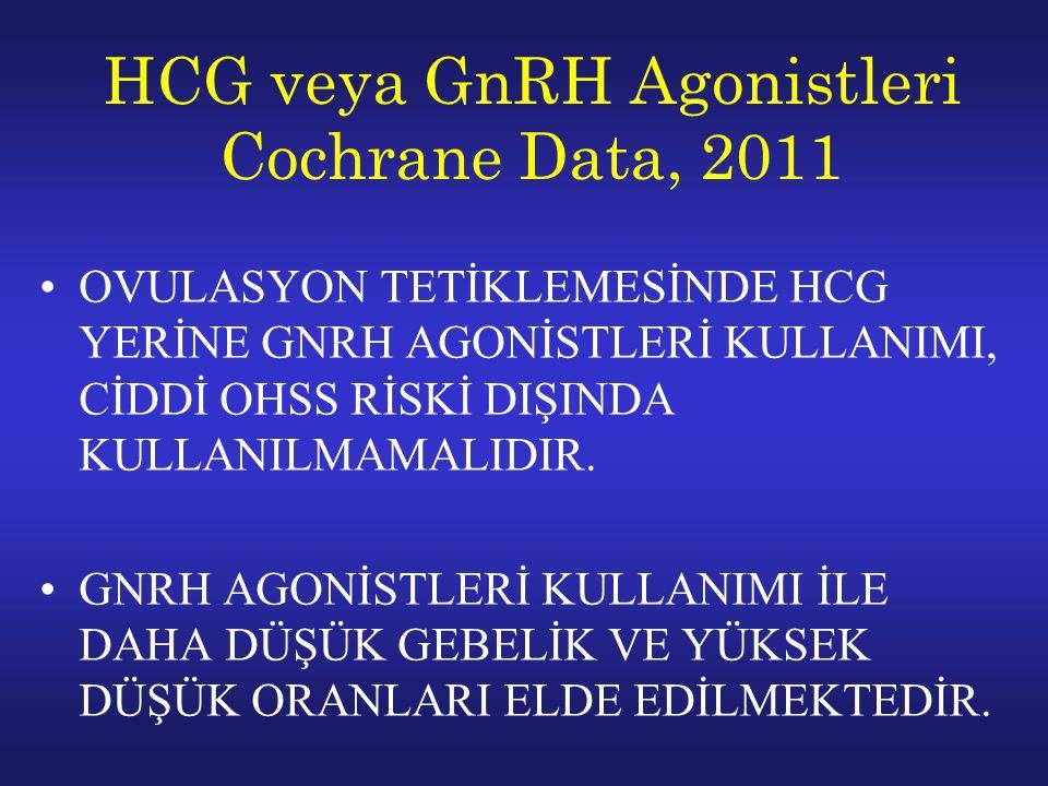 HCG veya GnRH Agonistleri Cochrane Data, 2011 OVULASYON TETİKLEMESİNDE HCG YERİNE GNRH AGONİSTLERİ KULLANIMI, CİDDİ OHSS RİSKİ DIŞINDA KULLANILMAMALIDIR.