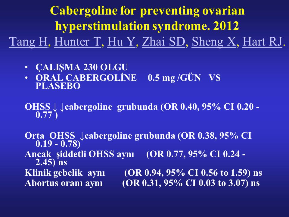 ÇALIŞMA 230 OLGU ORAL CABERGOLİNE 0.5 mg /GÜN VS PLASEBO OHSS ↓ ↓cabergoline grubunda (OR 0.40, 95% CI 0.20 - 0.77 ) Orta OHSS ↓cabergoline grubunda (OR 0.38, 95% CI 0.19 - 0.78) Ancak şiddetli OHSS aynı (OR 0.77, 95% CI 0.24 - 2.45) ns Klinik gebelik aynı (OR 0.94, 95% CI 0.56 to 1.59) ns Abortus oranı aynı (OR 0.31, 95% CI 0.03 to 3.07) ns Cabergoline for preventing ovarian hyperstimulation syndrome.