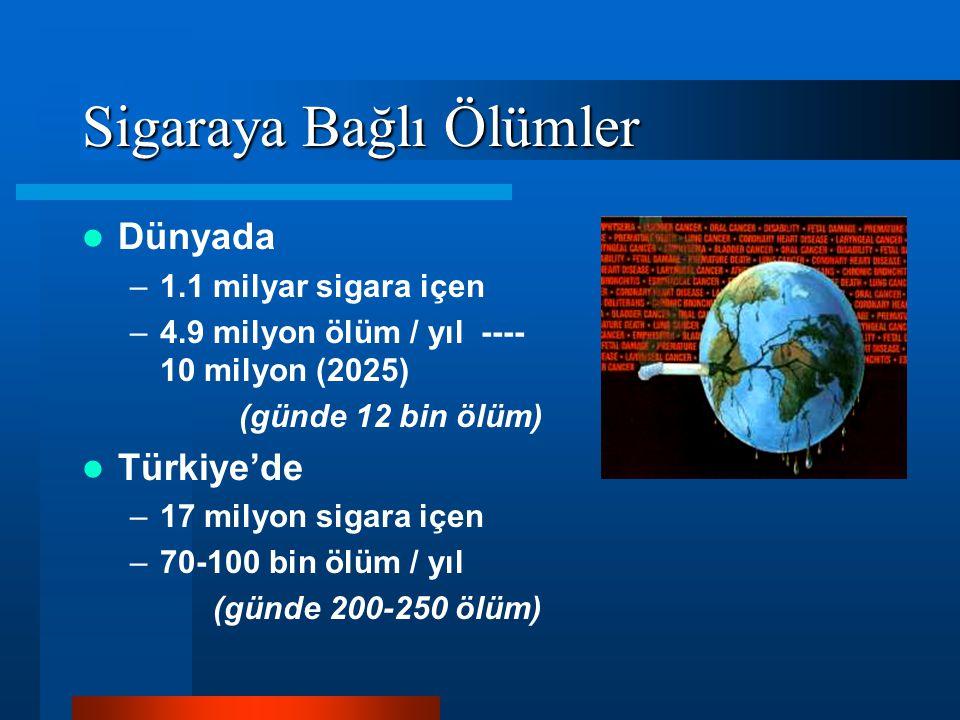 Sigaraya Bağlı Ölümler Dünyada –1.1 milyar sigara içen –4.9 milyon ölüm / yıl ---- 10 milyon (2025) (günde 12 bin ölüm) Türkiye'de –17 milyon sigara i