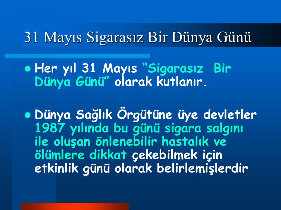 """31 Mayıs Sigarasız Bir Dünya Günü Her yıl 31 Mayıs """"Sigarasız Bir Dünya Günü"""" olarak kutlanır. Dünya Sağlık Örgütüne üye devletler 1987 yılında bu gün"""