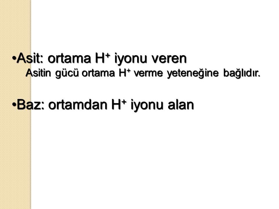 Asit: ortama H + iyonu verenAsit: ortama H + iyonu veren Asitin gücü ortama H + verme yeteneğine bağlıdır. Baz: ortamdan H + iyonu alanBaz: ortamdan H