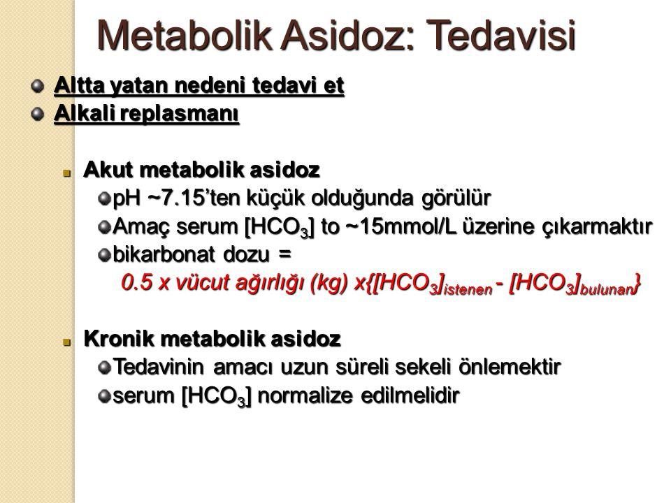 Metabolik Asidoz: Tedavisi Altta yatan nedeni tedavi et Alkali replasmanı Akut metabolik asidoz Akut metabolik asidoz pH ~7.15'ten küçük olduğunda gör