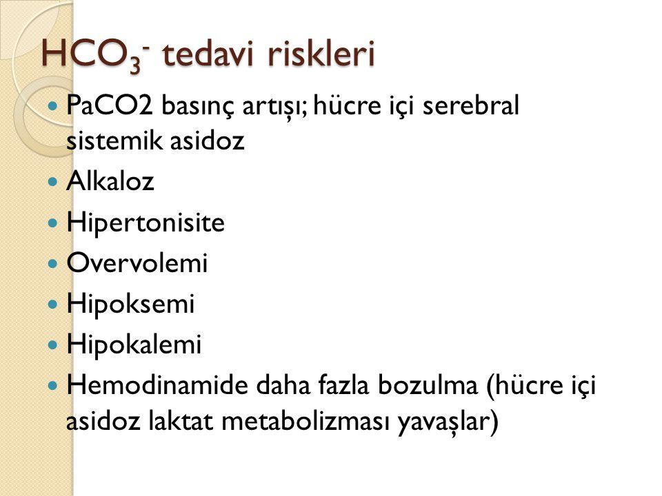 HCO 3 - tedavi riskleri PaCO2 basınç artışı; hücre içi serebral sistemik asidoz Alkaloz Hipertonisite Overvolemi Hipoksemi Hipokalemi Hemodinamide dah