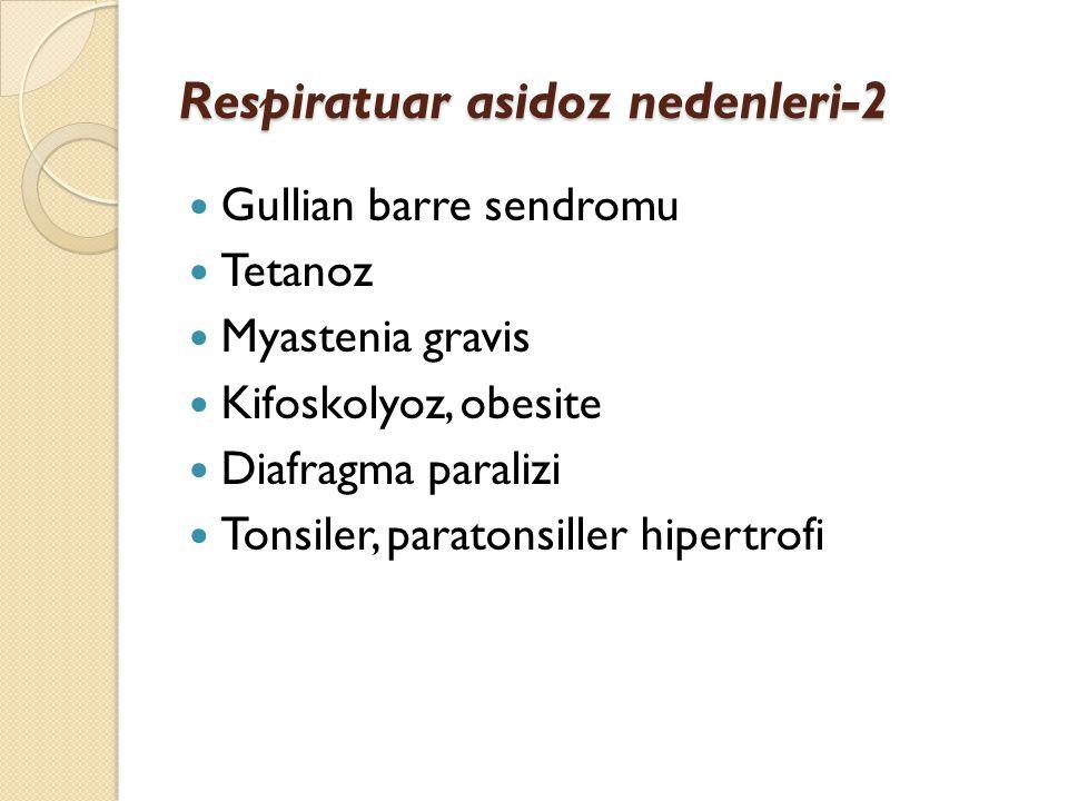 Respiratuar asidoz nedenleri-2 Gullian barre sendromu Tetanoz Myastenia gravis Kifoskolyoz, obesite Diafragma paralizi Tonsiler, paratonsiller hipertr