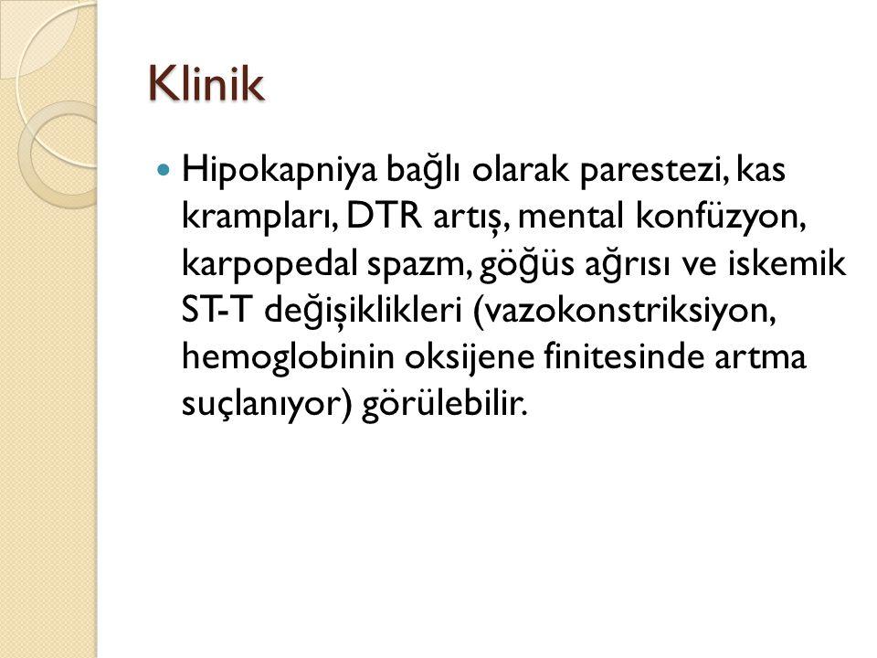 Klinik Hipokapniya ba ğ lı olarak parestezi, kas krampları, DTR artış, mental konfüzyon, karpopedal spazm, gö ğ üs a ğ rısı ve iskemik ST-T de ğ işikl