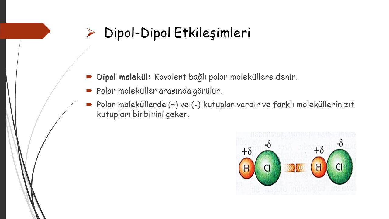  İyon-Dipol Etkileşimleri  İyon: Elektrik yüklü parçacıktır.