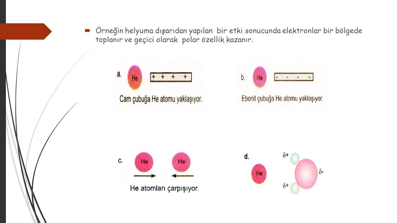  Örneğin helyuma dışarıdan yapılan bir etki sonucunda elektronlar bir bölgede toplanır ve geçici olarak polar özellik kazanır.
