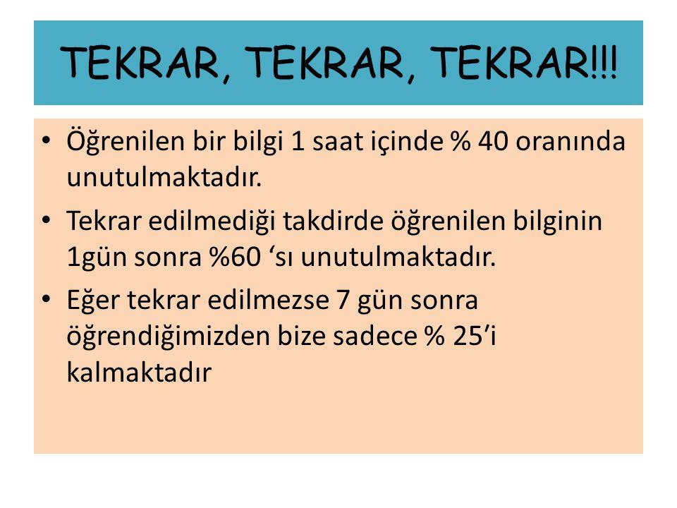 TEKRAR, TEKRAR, TEKRAR!!.Öğrenilen bir bilgi 1 saat içinde % 40 oranında unutulmaktadır.