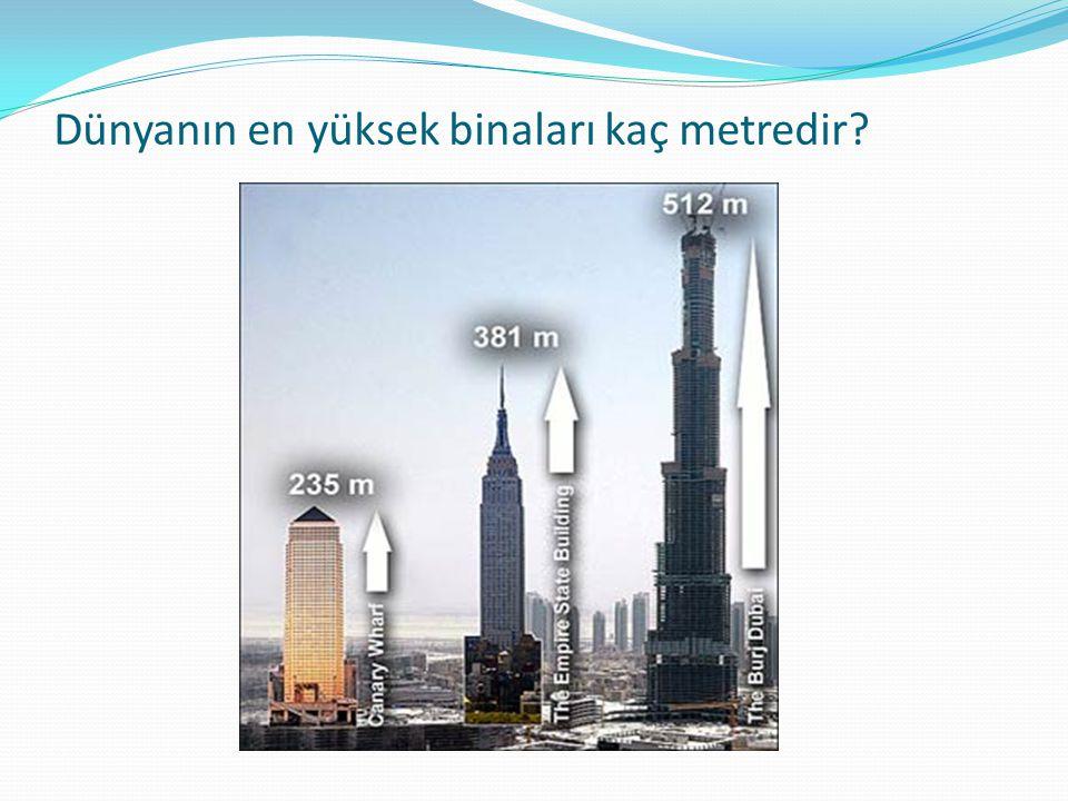Dünyanın en yüksek binaları kaç metredir?