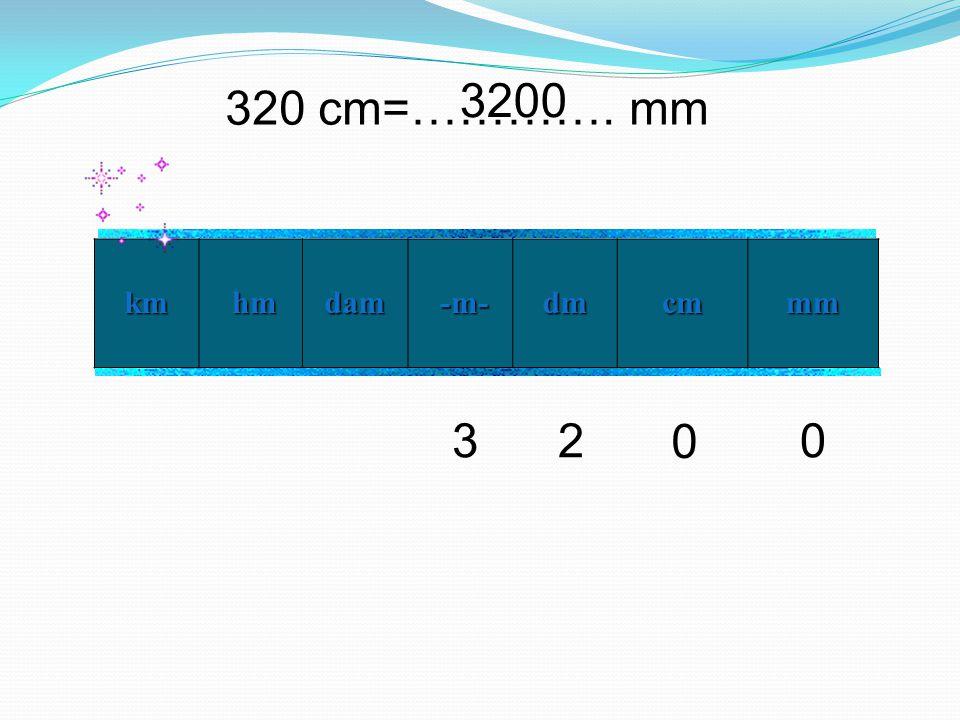 320 cm=…………. mm km hm hmdam -m- -m- dm cm mm 0 230 3200
