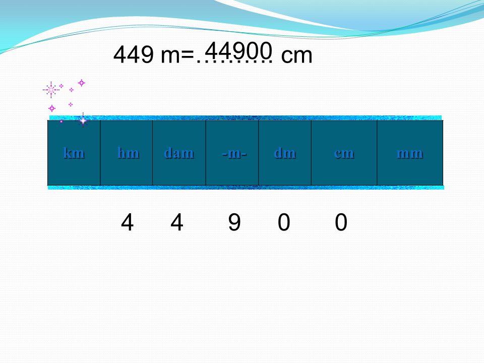 449 m=………. cm km hm hmdam -m- -m- dm cm mm 94400 44900