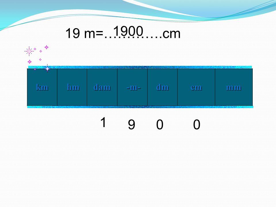19 m=………….cm km hm hmdam -m- -m- dm cm mm 9 1 00 1900