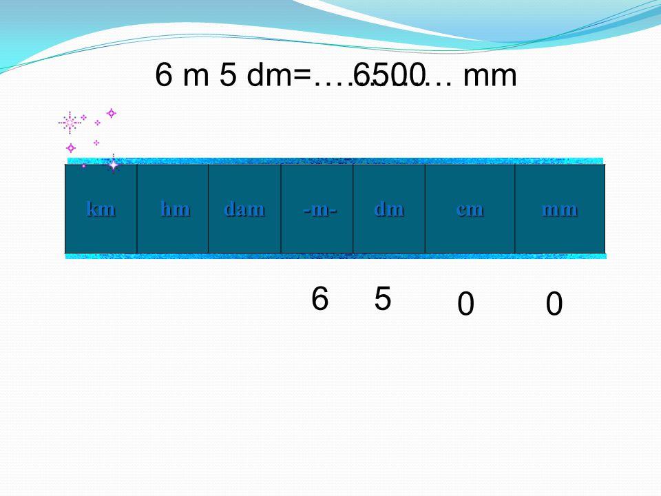 6 m 5 dm=…………. mm km hm hmdam -m- -m- dm cm mm 56 00 6500