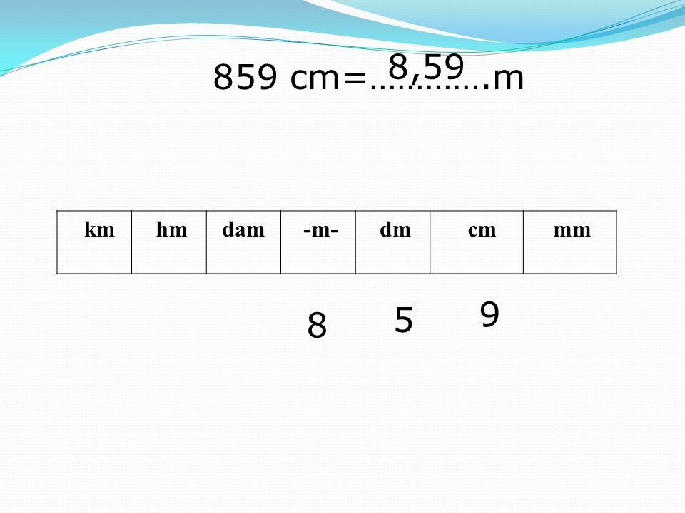 km hmdam -m- dm cm mm 859 cm=………….m 9 5 8 8,59