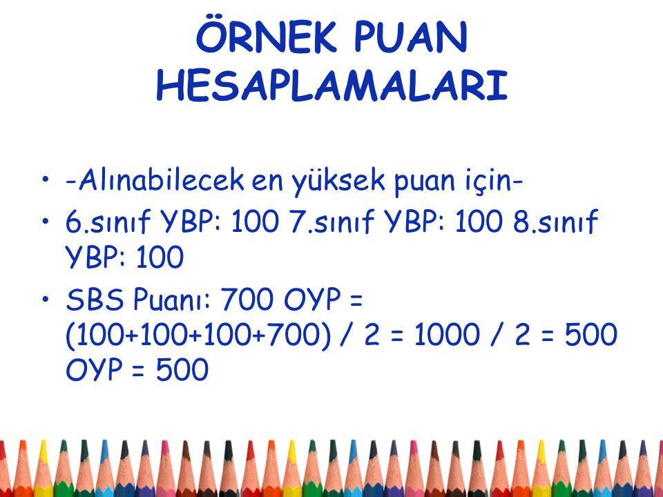 ÖRNEK PUAN HESAPLAMALARI -Alınabilecek en yüksek puan için- 6.sınıf YBP: 100 7.sınıf YBP: 100 8.sınıf YBP: 100 SBS Puanı: 700 OYP = (100+100+100+700) / 2 = 1000 / 2 = 500 OYP = 500