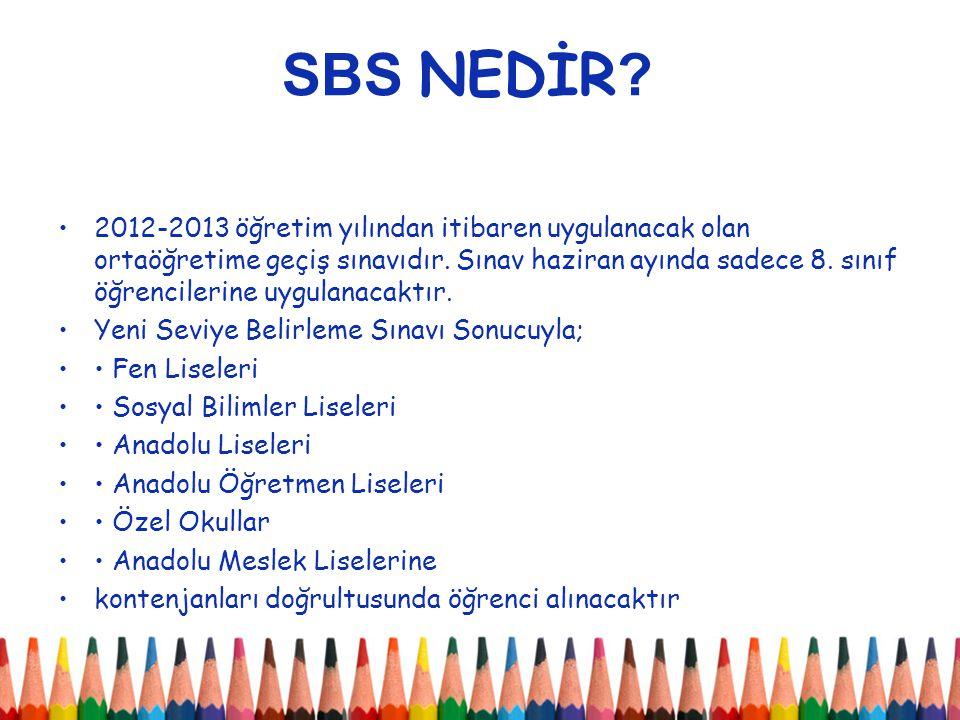 2012 SBS 2013 SBS Sınav Sayısı6-7-8.Sınıflar8.Sınıf Müfredat6-7-8.Sınıf Müfredatı8.Sınıf Müfredatı Süre-Soru Sayısı 120 dakika 100 soru 120 dakika 100 soru OYP Hesaplanması6.sınıf Sınıf Puanının %25'i, 7.sınıf Sınıf Puanının %35'i, 8.sınıf Sınıf Puanının %40'ı SINIF PUANI = ((SBS PUANI * 0,70) + ((YSBP / EBYSBP) * 125) * 1,0526 6.sınıf Yıl Sonu Başarı Puanının %50'si, 7.sınıf Yıl Sonu Başarı Puanının %50'si, 8.sınıf Yıl Sonu Başarı Puanının Puanının %50'si Puanlama 500 700 FARKLAR