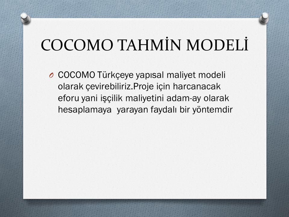 COCOMO TAHMİN MODELİ O COCOMO Türkçeye yapısal maliyet modeli olarak çevirebiliriz.Proje için harcanacak eforu yani işçilik maliyetini adam-ay olarak