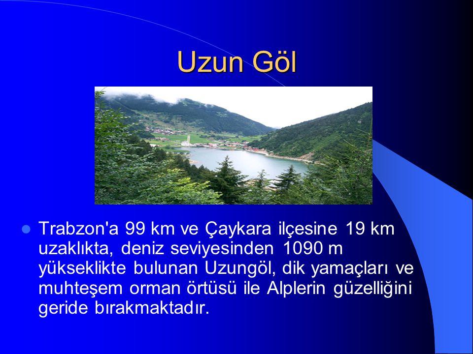 Uzun Göl Trabzon a 99 km ve Çaykara ilçesine 19 km uzaklıkta, deniz seviyesinden 1090 m yükseklikte bulunan Uzungöl, dik yamaçları ve muhteşem orman örtüsü ile Alplerin güzelliğini geride bırakmaktadır.