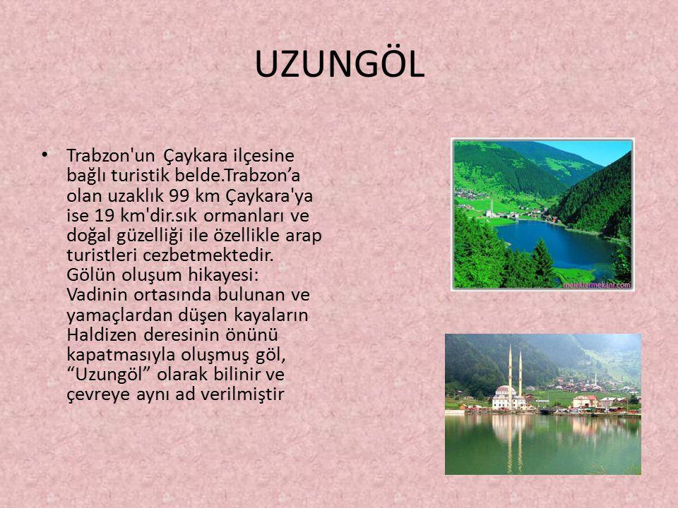 UZUNGÖL Trabzon un Çaykara ilçesine bağlı turistik belde.Trabzon'a olan uzaklık 99 km Çaykara ya ise 19 km dir.sık ormanları ve doğal güzelliği ile özellikle arap turistleri cezbetmektedir.