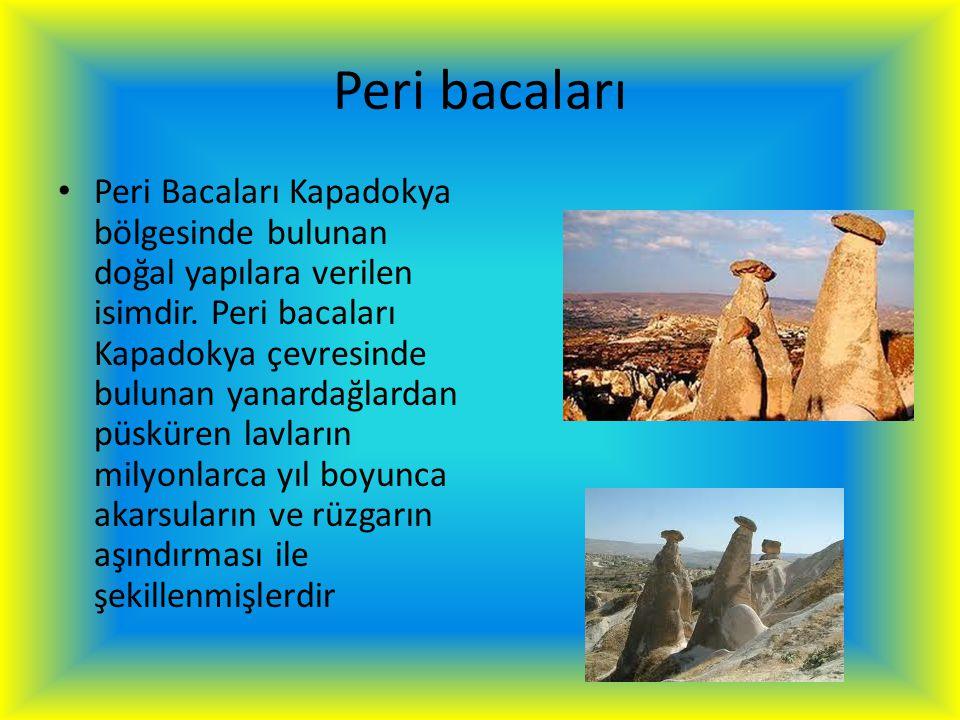 Peri bacaları Peri Bacaları Kapadokya bölgesinde bulunan doğal yapılara verilen isimdir. Peri bacaları Kapadokya çevresinde bulunan yanardağlardan püs