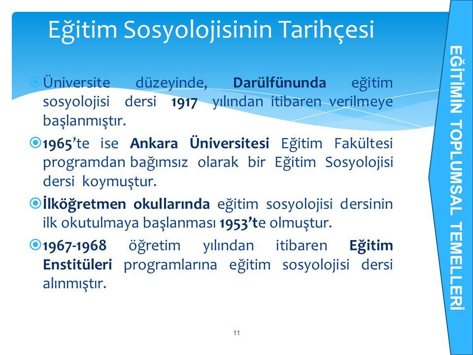  Üniversite düzeyinde, Darülfünunda eğitim sosyolojisi dersi 1917 yılından itibaren verilmeye başlanmıştır.