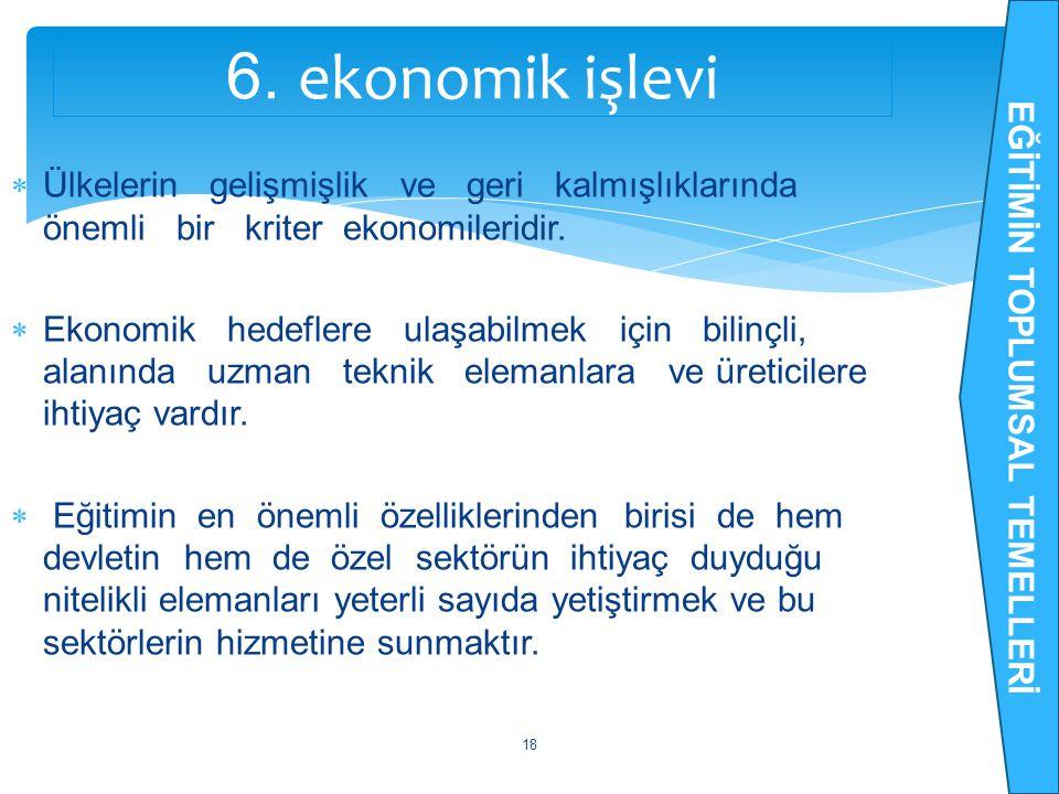  Ülkelerin gelişmişlik ve geri kalmışlıklarında önemli bir kriter ekonomileridir.