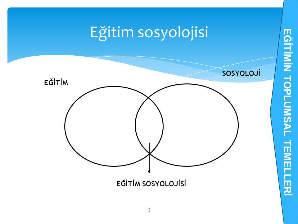 Eğitim sosyolojisi 3 EĞİTİM SOSYOLOJİ EĞİTİM SOSYOLOJİSİ EĞİTİMİN TOPLUMSAL TEMELLERİ