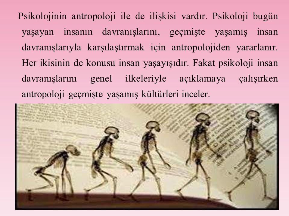 Psikolojinin antropoloji ile de ilişkisi vardır.