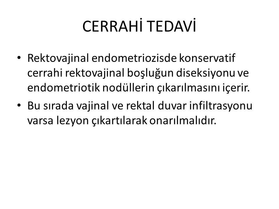 CERRAHİ TEDAVİ Rektovajinal endometriozisde konservatif cerrahi rektovajinal boşluğun diseksiyonu ve endometriotik nodüllerin çıkarılmasını içerir.