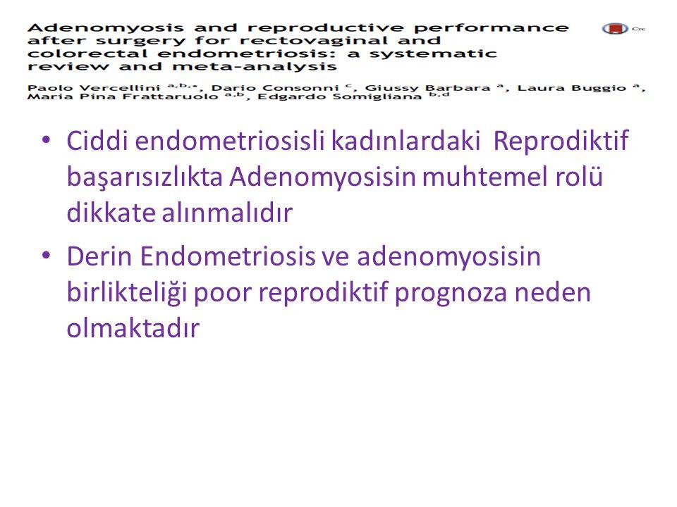 Ciddi endometriosisli kadınlardaki Reprodiktif başarısızlıkta Adenomyosisin muhtemel rolü dikkate alınmalıdır Derin Endometriosis ve adenomyosisin birlikteliği poor reprodiktif prognoza neden olmaktadır