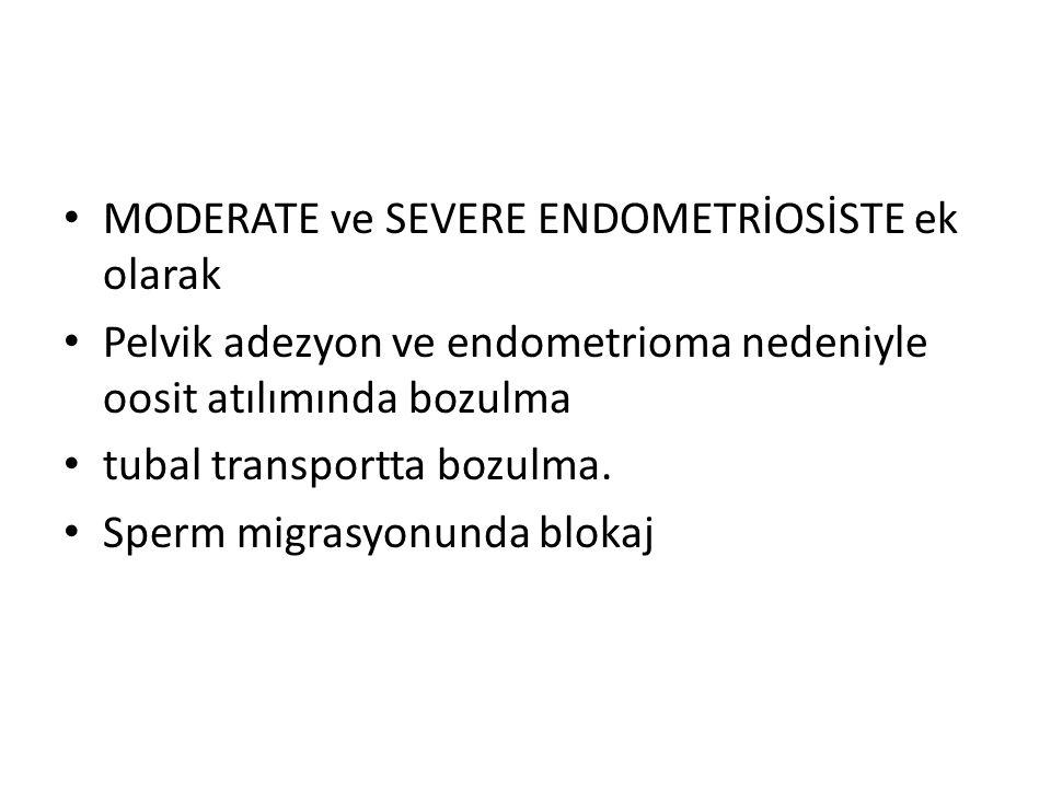 MODERATE ve SEVERE ENDOMETRİOSİSTE ek olarak Pelvik adezyon ve endometrioma nedeniyle oosit atılımında bozulma tubal transportta bozulma.