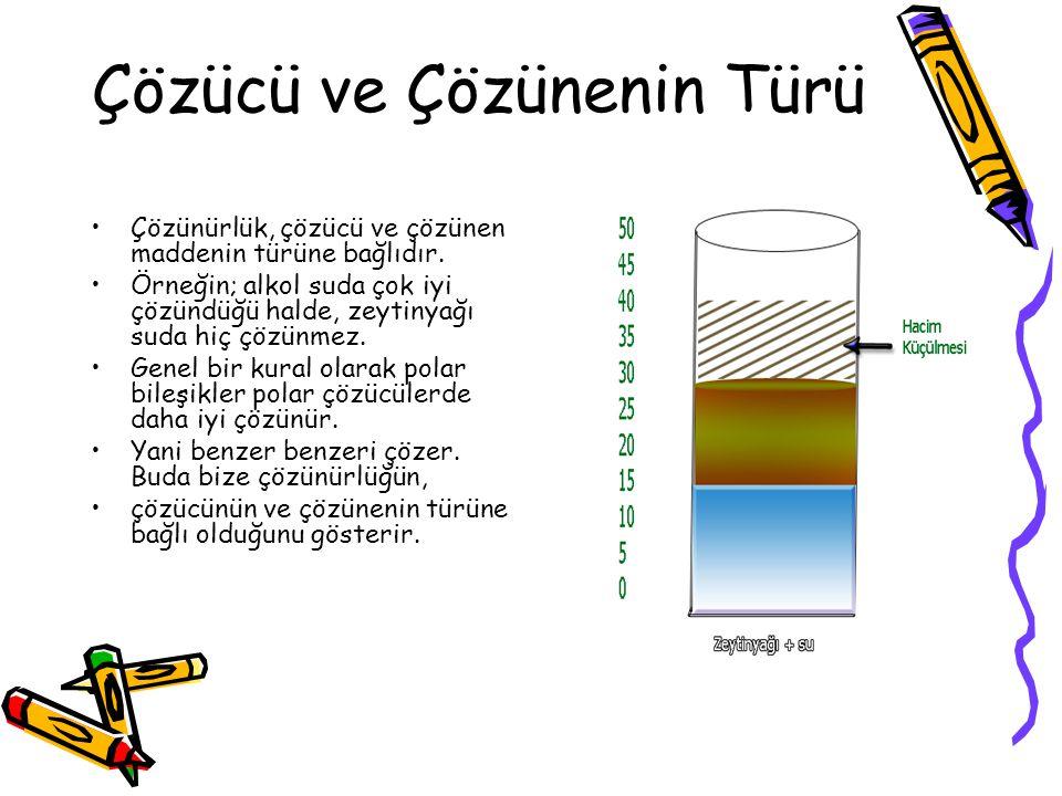 Çözücü ve Çözünenin Türü Çözünürlük, çözücü ve çözünen maddenin türüne bağlıdır. Örneğin; alkol suda çok iyi çözündüğü halde, zeytinyağı suda hiç çözü