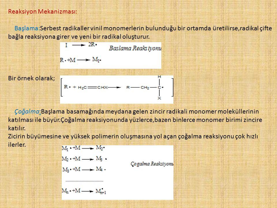 Reaksiyon Mekanizması: Başlama:Serbest radikaller vinil monomerlerin bulunduğu bir ortamda üretilirse,radikal çifte bağla reaksiyona girer ve yeni bir