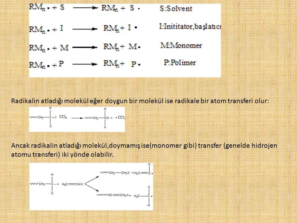 Radikalin atladığı molekül eğer doygun bir molekül ise radikale bir atom transferi olur: Ancak radikalin atladığı molekül,doymamış ise(monomer gibi) t