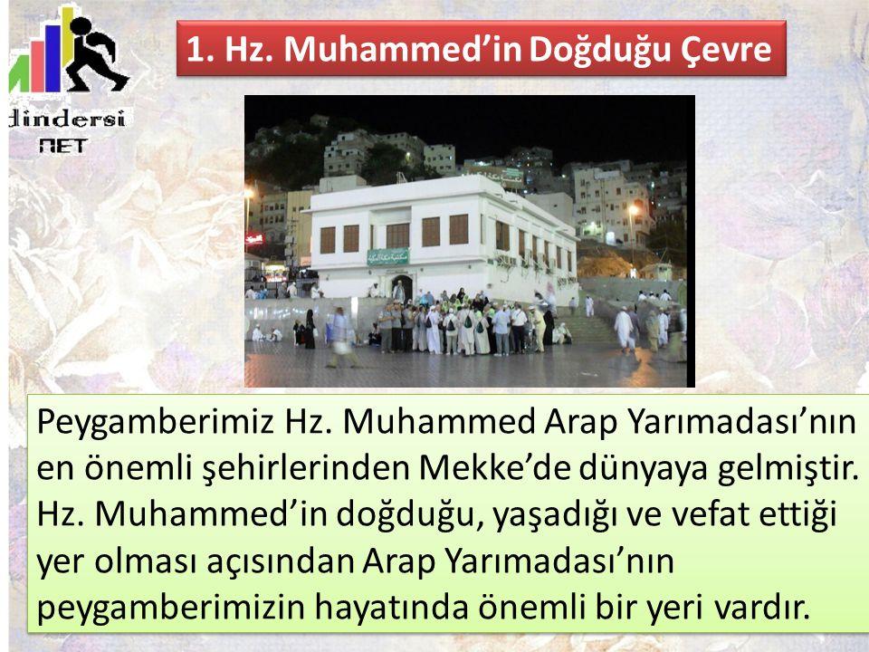 Peygamberimiz Hz. Muhammed Arap Yarımadası'nın en önemli şehirlerinden Mekke'de dünyaya gelmiştir. Hz. Muhammed'in doğduğu, yaşadığı ve vefat ettiği y