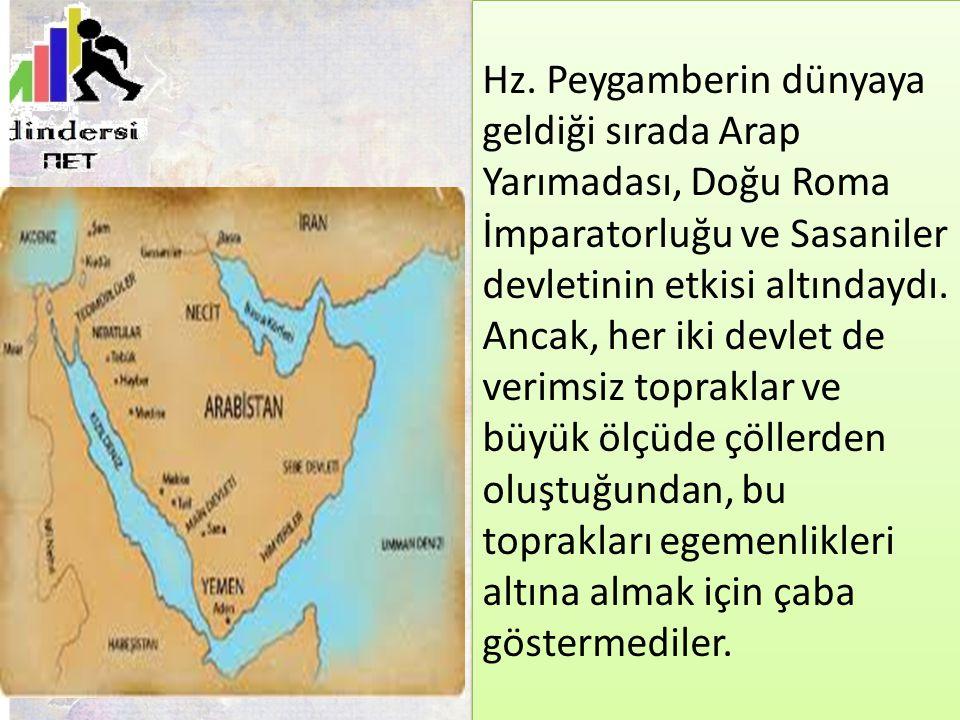 Hz. Peygamberin dünyaya geldiği sırada Arap Yarımadası, Doğu Roma İmparatorluğu ve Sasaniler devletinin etkisi altındaydı. Ancak, her iki devlet de ve