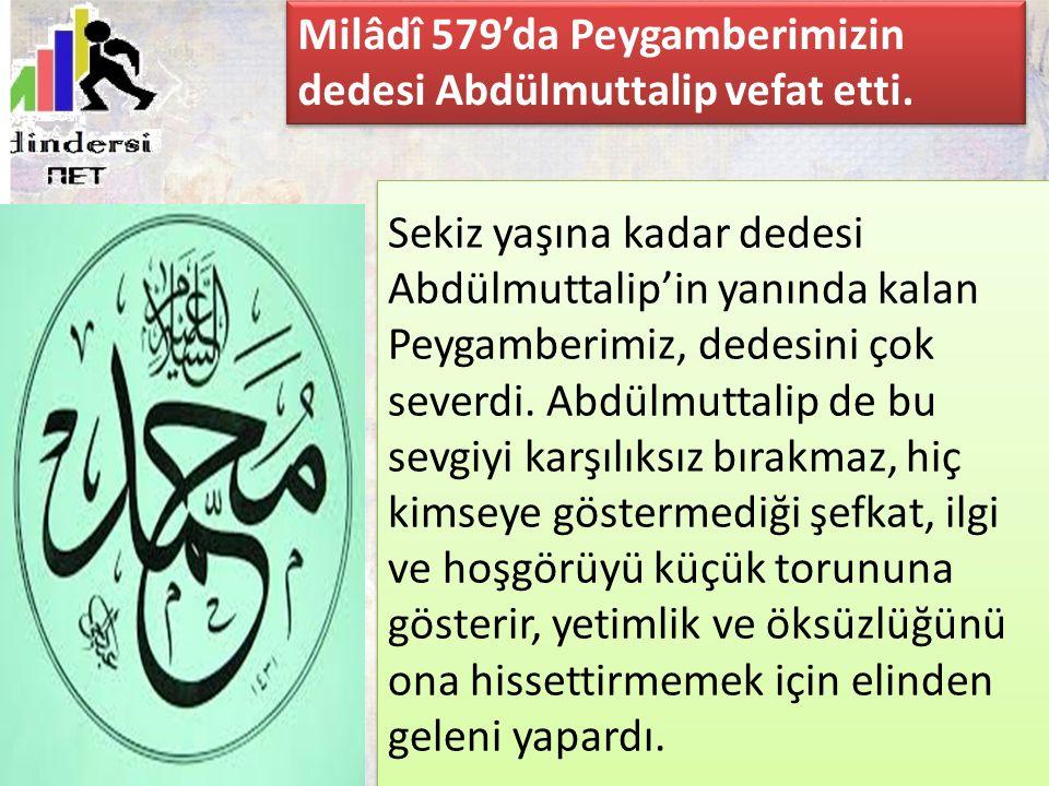 Sekiz yaşına kadar dedesi Abdülmuttalip'in yanında kalan Peygamberimiz, dedesini çok severdi. Abdülmuttalip de bu sevgiyi karşılıksız bırakmaz, hiç ki
