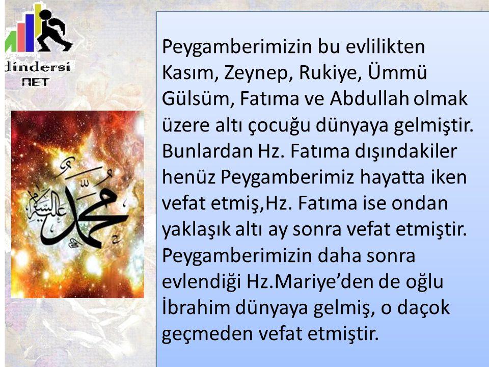 Peygamberimizin bu evlilikten Kasım, Zeynep, Rukiye, Ümmü Gülsüm, Fatıma ve Abdullah olmak üzere altı çocuğu dünyaya gelmiştir. Bunlardan Hz. Fatıma d