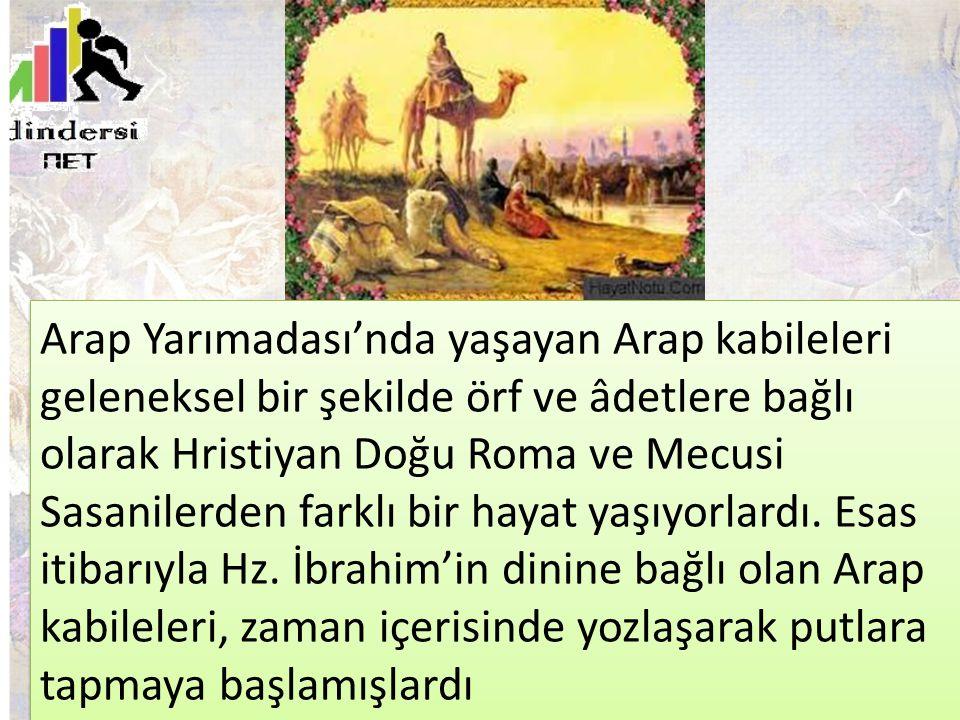 Arap Yarımadası'nda yaşayan Arap kabileleri geleneksel bir şekilde örf ve âdetlere bağlı olarak Hristiyan Doğu Roma ve Mecusi Sasanilerden farklı bir