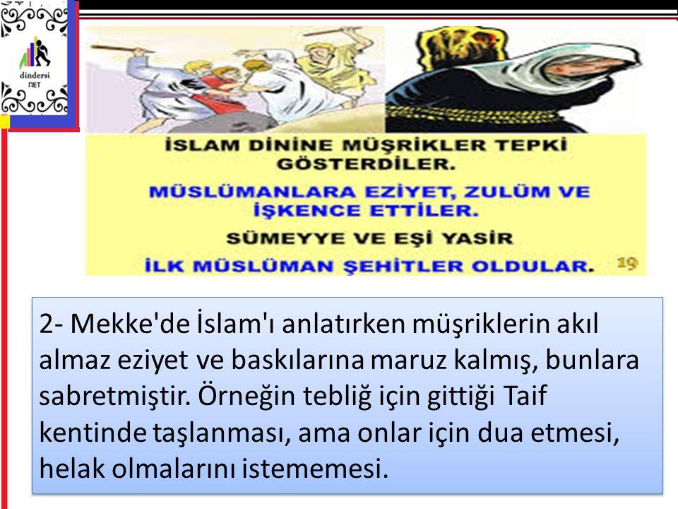 2- Mekke'de İslam'ı anlatırken müşriklerin akıl almaz eziyet ve baskılarına maruz kalmış, bunlara sabretmiştir. Örneğin tebliğ için gittiği Taif kenti