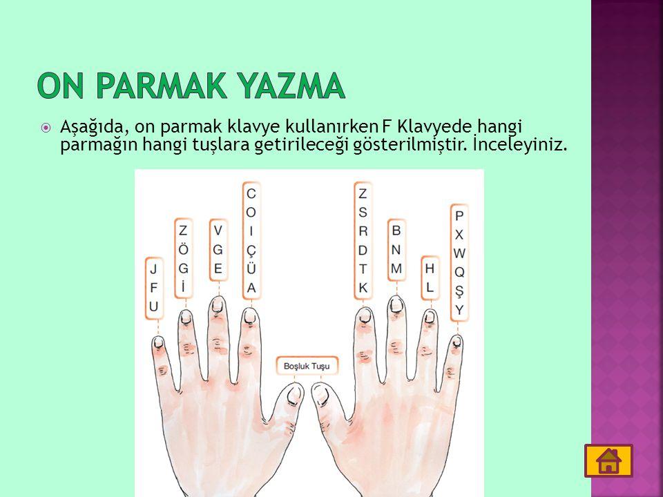 Aşağıda, on parmak klavye kullanırken F Klavyede hangi parmağın hangi tuşlara getirileceği gösterilmiştir. İnceleyiniz.