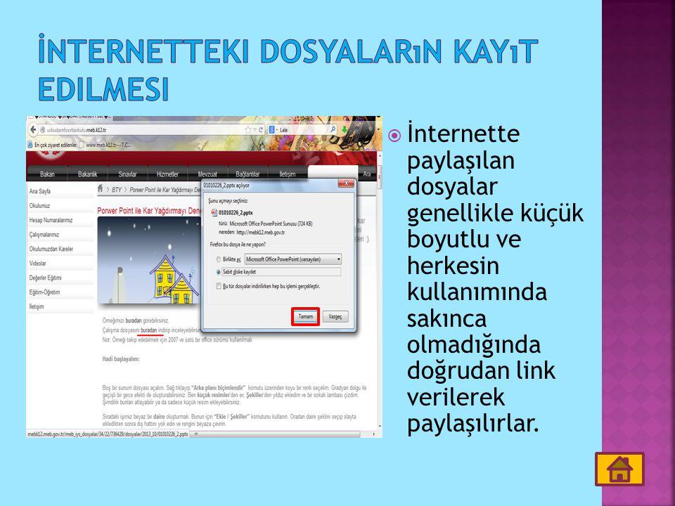  İnternette paylaşılan dosyalar genellikle küçük boyutlu ve herkesin kullanımında sakınca olmadığında doğrudan link verilerek paylaşılırlar.