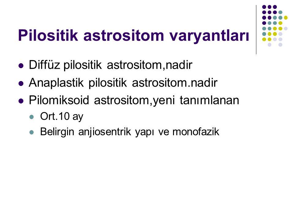 Pilositik astrositom varyantları Diffüz pilositik astrositom,nadir Anaplastik pilositik astrositom.nadir Pilomiksoid astrositom,yeni tanımlanan Ort.10