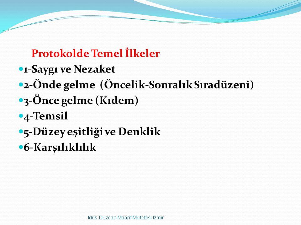 Protokolde Temel İlkeler 1-Saygı ve Nezaket 2-Önde gelme (Öncelik-Sonralık Sıradüzeni) 3-Önce gelme (Kıdem) 4-Temsil 5-Düzey eşitliği ve Denklik 6-Karşılıklılık İdris Düzcan Maarif Müfettişi İzmir