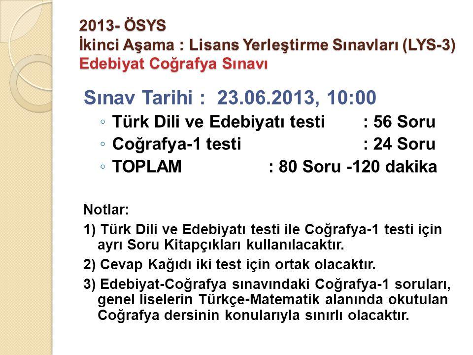 2013- ÖSYS İkinci Aşama : Lisans Yerleştirme Sınavları (LYS-3) Edebiyat Coğrafya Sınavı Sınav Tarihi : 23.06.2013, 10:00 ◦ Türk Dili ve Edebiyatı test