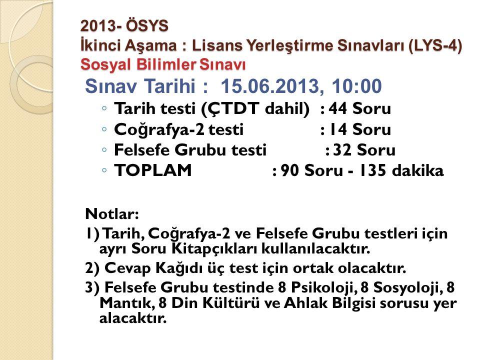 2013- ÖSYS İkinci Aşama : Lisans Yerleştirme Sınavları (LYS-4) Sosyal Bilimler Sınavı Sınav Tarihi : 15.06.2013, 10:00 ◦ Tarih testi (ÇTDT dahil): 44