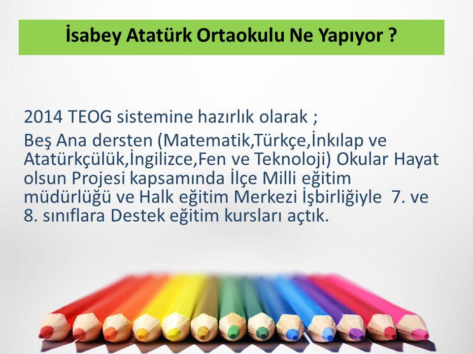 2014 TEOG sistemine hazırlık olarak ; Beş Ana dersten (Matematik,Türkçe,İnkılap ve Atatürkçülük,İngilizce,Fen ve Teknoloji) Okular Hayat olsun Projesi