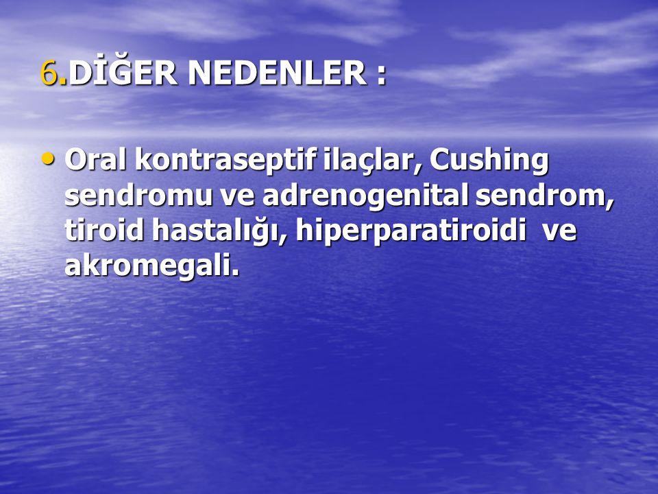 6.DİĞER NEDENLER : Oral kontraseptif ilaçlar, Cushing sendromu ve adrenogenital sendrom, tiroid hastalığı, hiperparatiroidi ve akromegali. Oral kontra