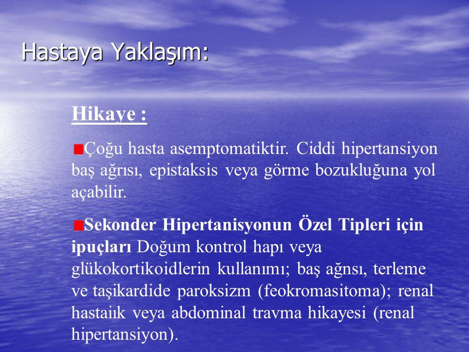 Malign Hipertansiyon ve Hipertansif Krizin Tedavisi: İlaçDoz Yan Etkiler NitroprııssidİV: 0.5- 8.0 (mg/kg)/ Hipertansiyon: 24 saat sonra dakika tiyosiyanat toksisitesi için dikkat edin (kulak çınla- ması, görme bozukluğu, değişen rnental dunun) Nitrogliserin* İV : 5- 1 00 ııg/dakika Hipotansiyon, baş ağrısı labetolol İV : 2o-8o mg 10 dakika Hipotansiyon, bradikardi, arayla (maksimum A V blok, bronkospazm 300 mg) veya 20 mg İV bolus sonrasında 1- 2 mg/dakika infüzyon Enalaprilat IV: 1.25 mg 6 saat Anjioödem, hiperkalemi Hidralazin İV : 5- 1 0 mg tv 1 0-15 Refleks taşikardi, KAH veya dakika arayla (maksi- aort disseksiyonu olduğu mun 50 mg) düşünülen hastalarda kul- lanmaktan kaçının Diazoksit İV: 50 mg 5-10 dakikaNa retansiyonu †, hiper- arayla (maksimum glisemi 600 mg) Taşikardi, karın ağrısı, idrar Trimetafan İV 0.5-5 mg/dakika retansiyonu *Kan basıncındaki hızlı dalgalanmaları önlemek için intraarteriyel kan basıncı izlenmesi önerilir.